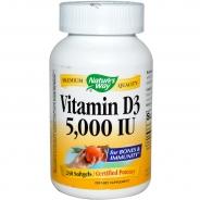 Natures Way, Vitamin D3, 5000 IU wochendosis, 240 Softgels