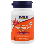 NOW  Foods, Vitamin D3 5000 IU 240 Softgels, Wochendosis