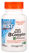 Doctors Best, Fully Active B Complex with Quatrefolic, 30 Veggie Caps