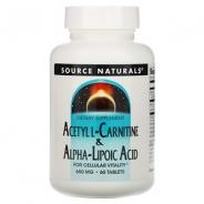 Source Naturals, Acetyl L-Carnitine & Alpha-Lipoic Acid, 650 mg, 60 Tabletten