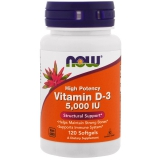 NOW  Foods, Vitamin D3 5000 IU 120 Softgels, Wochendosis